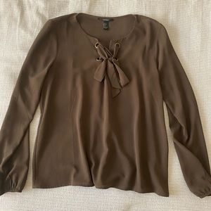 Olive Green Tie Blouse